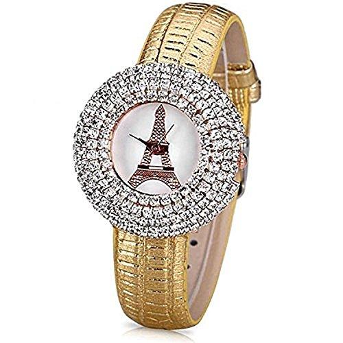 Reloj de Pulsera para Mujer con diseño de Brazalete (4,00, Oro 4)