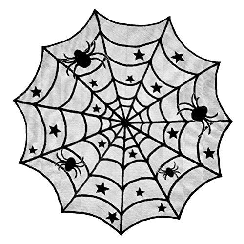 Halloween Tischdecke,Spinennetz Spitze Rechteckige Runde Tischdecke Spinnennetz Tischabdeckung Tischläufer Spinnennetz für Halloween Party Dekoration