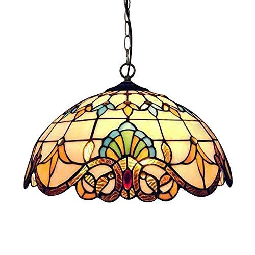 QCLU Lampadario in Stile Tiffany, Europeo retrò Lampada A Sospensione, Paralume in Vetro Colorato...