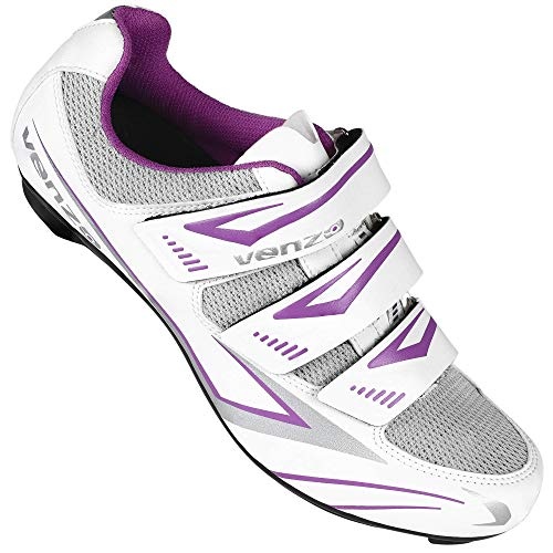 Venzo MX Bike Bicycle Women's Ladies Cycling Riding Shoes - Compatible with Peloton Shimano SPD & Look ARC Delta - Perfect for Indoor Indoor Road Racing Indoor Exercise Bikes Size 37