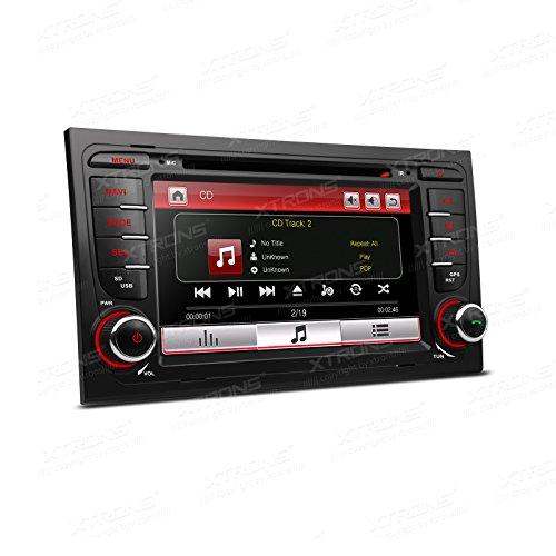 XTRONS Reproductor de DVD estéreo de coche con pantalla táctil HD digital de 7 pulgadas con navegación GPS de doble canal Canbus función de espejo para Audi A4 S4 RS4 Kudos tarjeta de mapa inc