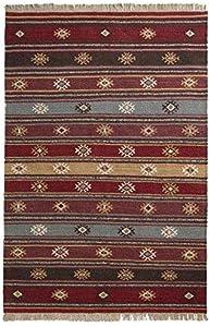 The Indian Arts Zanskar Kilim Indiano Tappeto Grigio Rosso Beige Colori 80% Lana 20% Cotone 120x 280cm