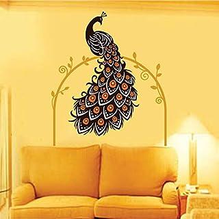 Decals Design 'Beautiful Peacock on Vine' Wall Sticker (PVC Vinyl, 90 cm x 60 cm, Multicolour)