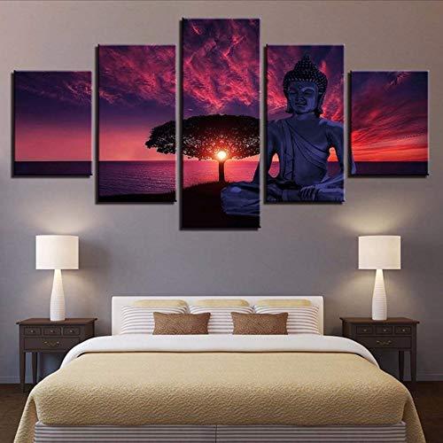 Cczxfcc canvas met print voor Home Decor 5 stuks Boeddha Wall Art New Classics modulaire afbeelding voor nachtkastje achtergrond artwork poster 40x60/80/100cm-nessuna Cornice