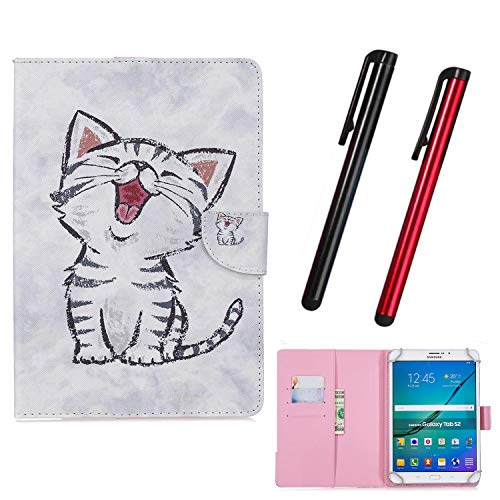 Hious Universal Hülle für 7 Zoll Tablet mit Kartenfächer und Stift für Samsung Galaxy Tab 4 7,0 SM-T230 T235/Fire HD 7