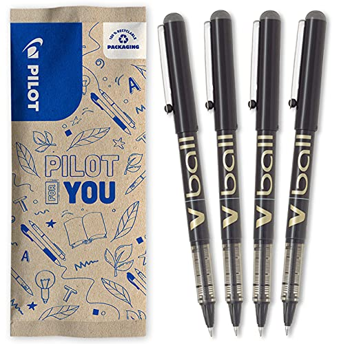 Pilot V-Ball 07 - Lote de 4 bolígrafos de tinta líquida, punta media, color negro