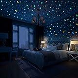Hiveseen 468 Pcs Estrellas Fluorescentes, 4 Colores LuminosoPegatinasdePared Contiene Cohetes, Astronave, Luna, Estrellas, Meteoritos para Dormitorio de Niños DIY Decoración