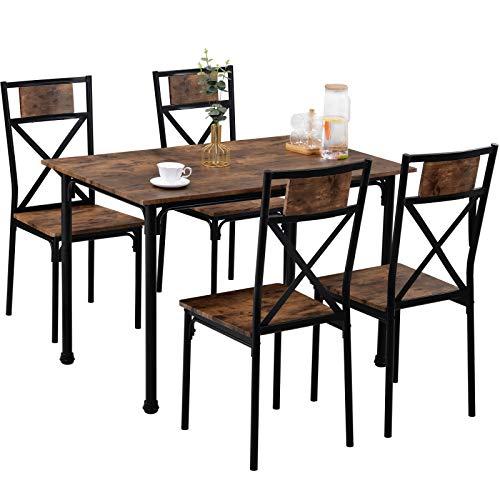 Foxorex Juego de 4 mesas de comedor y sillas de madera, marco de acero industrial, estilo retro, juego de mesa de comedor (marrón rústico)