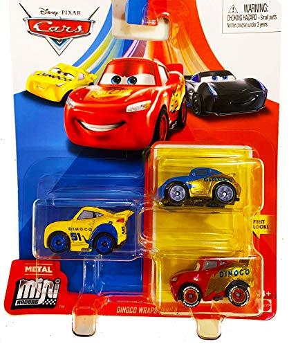 Disney Pixar Cars Mini Racers 3 Pack Dinoco Wraps Sally, Lightning McQueen, Cruz Ramirez