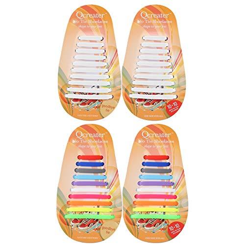 SDARMING Schnürsenkel ohne Binden für Kinder und Erwachsene, Elastische Silikon Schnürsenkel für Sportschuhe, Wasserdichte Schleifenlose Schuhbänder für Laufschuhe