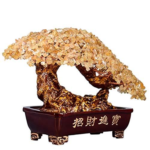 Ornamento de Escritorio Crystal árbol Bonsai Feng Shui de la piedra preciosa del árbol del dinero for la energía positiva, suerte y riqueza Top Plaza Chakra Healing cristales de cobre del árbol del di