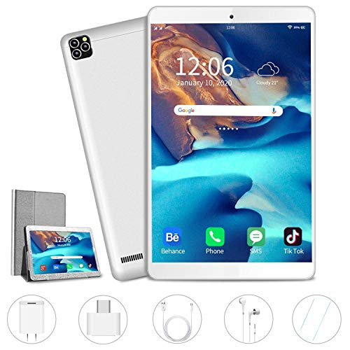 AOYODKG Tablet, 10 inch Android Tablet with 32 GB/128GB, Dual 4G SIM, 8000mAh Battery, Quad Core 3GB RAM, Bluetooth, WiFi, Android 9.0 Pie Tablet(2020 Latest Silver)
