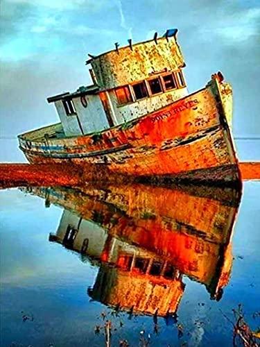 Cuadro de diamantes Kit de punto de cruz de barco Bordado de diamantes Paisaje Barco Navegación Mar Mosaico de diamantes Taladro cuadrado completo Venta de regalo A4 40x50cm