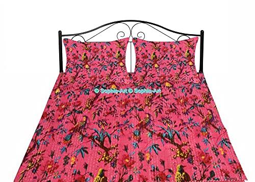Sophia-Art Colcha para cama individual o king bohemia de pájaros, hecha a mano, hecha a mano, con estampado de pájaros kantha, manta única (Magenta, individual de 150 x 200 cm con funda de funda)