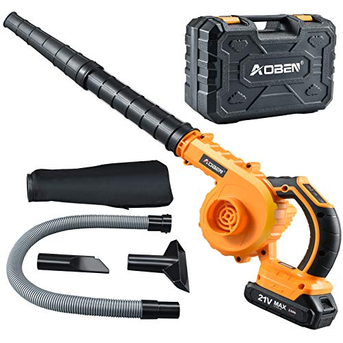 AOBEN Cordless Leaf Blower with Battery & Charger, Electric Leaf Blower 150 MPH for Yard Clean/Lawn Care/Garage, Lightweight Leaf Blower Battery Powered for Snow Blowing -Yellow