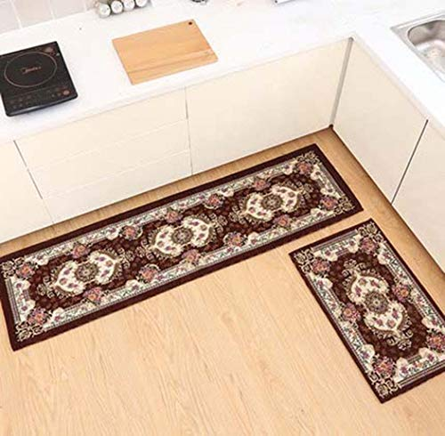 Teppichboden Küche Bodenmatte Lange Griffige Wasserabsorbierende Anti-Öl-Fußmatte Home Bad Tür Haustür Teppich,Braun,50X80+50X180cm