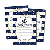 25 Nautical Baby Shower Invitations, Sprinkle Invite for Boy, Gender Neutral Reveal Navy Blue Gold Anchor Theme, Cute Printed Fill or Write In Blank Printable Card, Coed Twin Party Paper Supplies