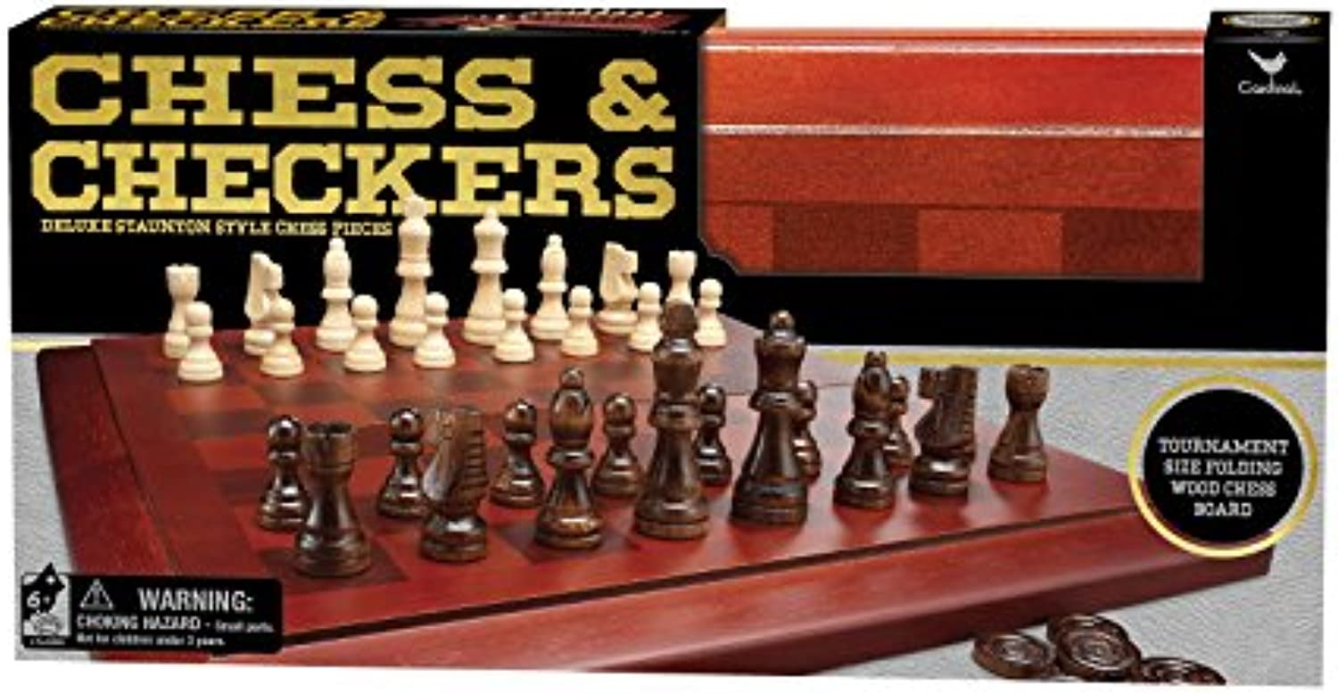 Cardinal Wood Chess Cabinet with Checkers by Cardinal