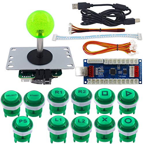 SJ@JX Arcade Game Stick DIY Kit Buttons with Logo 8 Way Joystick USB Encoder Cable Controller for PC PS3 PS2 MAME Raspberry Pi Green