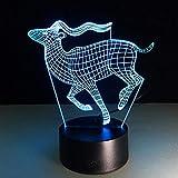 3D ciervo acrílico mesa de escritorio Lam grabado láser LED 3d luz de noche dormitorio iluminación para dormir juguete de Navidad regalo luz con sensor USB