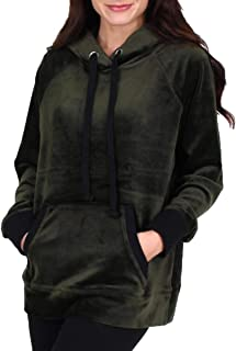 Womens Track Luxe Velour Hooded Pullover