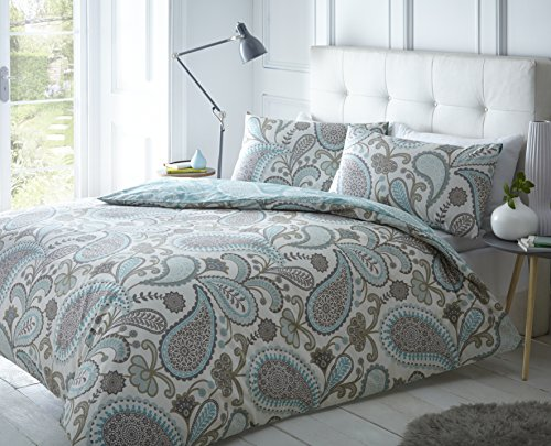potente para casa Double Bed Linen Set Sleep Down Paisley Teal, Cotton, Teal, Double