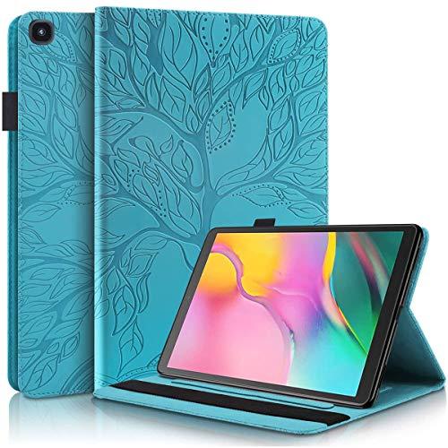 Ailisi Funda para Samsung Galaxy Tab A 10.1 (2019) SM-T510/SM-T515, Elegante Diseño de Árbol de la Vida en Relieve Carcasa Cover Protectora de Cuero con Soporte, Ranuras para Tarjetas -Azul Verde