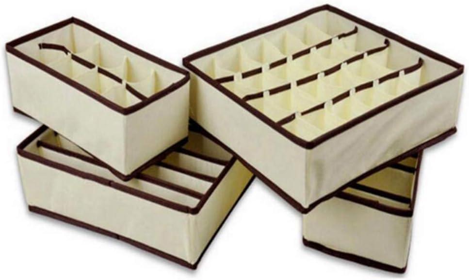 Reggiseni Divisori Cassetti Multiuso Pieghevole Calze Cassetto Closet Organizer Calze 4pcs Organizzatori Pieghevole per riporre Biancheria Intima Cinture Cravatte Color Crema