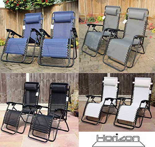 HORIZON SET OF 2 GARDEN GRAVITY SUN LOUNGER FOLDING SUN BED RELAXING RECLINING CHAIRS (Grey)