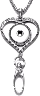 Multi Styles ID Lanyard Snaps Pendant Necklace 18mm Ginger Snap Button Jewelry 20mm Snap Jewelry (Simple Heart)
