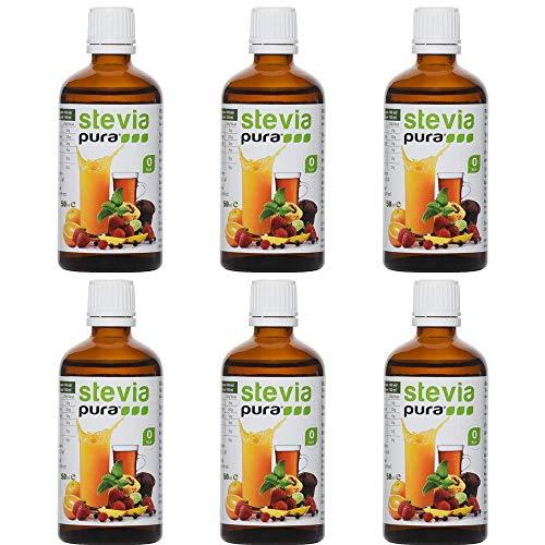 Flüssiges Stevia Extrakt Fluid (Tafelsüße) 6 x 50 ml - STEVIA Fluid - flüssiges Stevia Extrakt/natürliches Süßungsmittel/Premiumqualität / Zuckerersatz