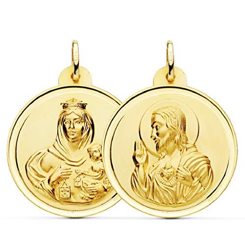 Medalla Escapulario Unisex Oro 18 ktes Tamaño 30 mm Sagrado Corazón y Virgen del Carmen