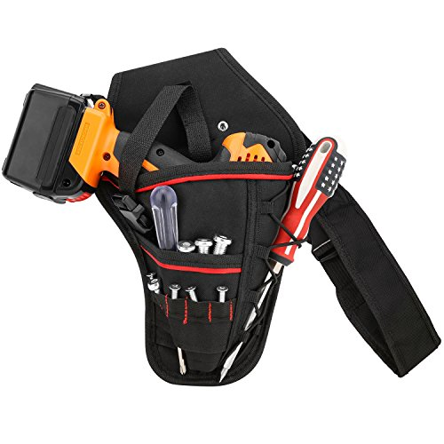 WOLFTEETH Heavy-Duty Impact Drill Holster Driver Drill Holder Portable Detachable Strap Belt, Multi-Functional Electric Tool Pouch Bag for Screwdriver Wrench Hammer Most T Handle Drills | Black 7415
