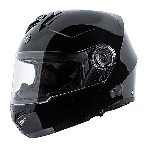 TORC T27 Full Face Modular Helmet with Integrated Blinc Bluetooth (Gloss Black, Medium)