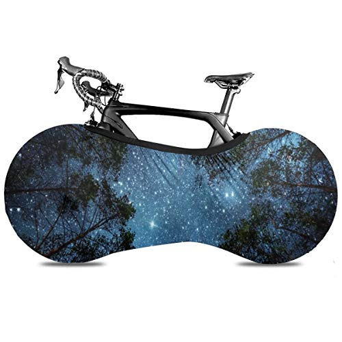 Space Nebula Planets Cubierta de Bicicleta Portátil Interior Anti Polvo Alta Elástica Cubierta de Bicicleta Cubierta de Protección Rip Stop Neumático Carretera MTB Bolsa de Almacenamiento, azul oscuro, talla única