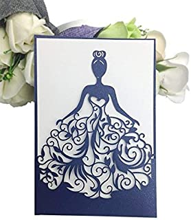 PONATIA 25PCS Lacer Cut Wedding Invitations Card Hollow Bride Invitations Cards for Wedding Bridal Invitation Engagement Invitations Cards (Navy Blue)
