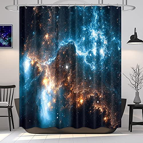 Riyidecor Galaxy Planet Duschvorhang Nebel Nacht Sternenhimmel Universum Weltall Fantasy Stern Stoff Wasserdicht Home Badewanne Dekor 12 Pack Kunststoff Haken 183 x 183 cm
