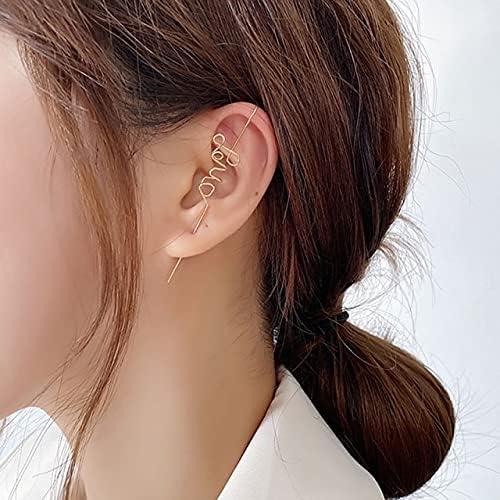 1 PC Fashion Butterfly Ear Clip Cubic Zirconia Crawler Hook Earring for Woman Crystal Ear Wrap Stud Earrings Climber Jewelry