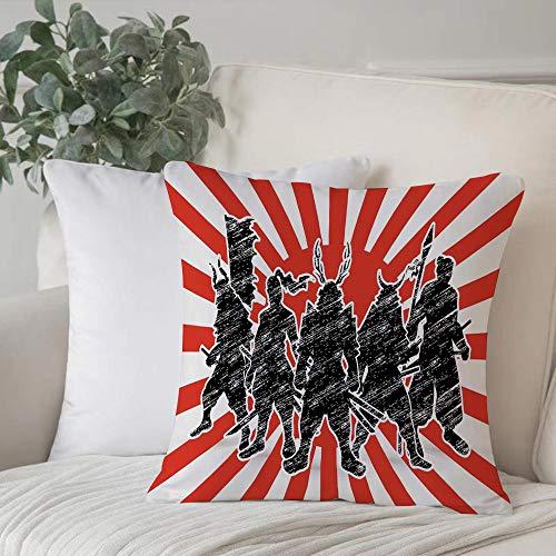 Funda de Cojín,Funda de Almohada Cuadrada para Asiento,Japonés, Grupo de Samurai Ninja posando y preparándose en un inusual Fundas de Almohada para Sofá Decorativas Dormitorio Coche Pulgada 45 x 45 cm
