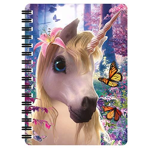 3D LiveLife Libreta - Unicornio de Deluxebase. Libreta pequeña A6 con espiral, lenticular 3D de unicornio y hojas lisas recicladas. Ilustraciones con licencia del reconocido artista David Penfound