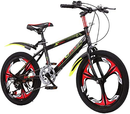 LHQ-HQ Ruedas de Bicicleta de montaña para niños de 22 Pulgadas, Ruedas de 6 velocidades y 3 radios, Bicicleta para niños, Bicicletas para niños de Acero de Alto Carbono para niños y niñas,Negro