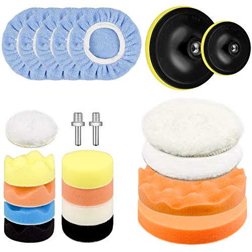 Awpeye 3 Inch 6 Inch Car Polishing Pad Kit 22 PCS, Car Foam Drill Buffing Pads Sponge, Wool Polishing Pad, Polisher Pad Bonnet Set