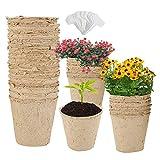 50 vasi da coltivazione biodegradabili, in fibre biodegradabili di 8 cm con 50 etichette, vasi per la germinazione delle piante e la coltivazione delle piante.