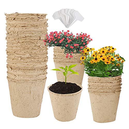 50 macetas de cultivo biodegradables, macetas de fibra biodegradables de 8 cm con 50 etiquetas, macetas para la germinación de plantas y el cultivo de plantas (50 unidades)