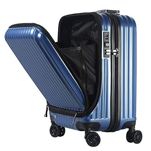 フロントオープン スーツケース 機内持ち込み キャリーバック キャリーケース SSサイズ 軽量 TSAロック 115cm ファスナータイプ BASILO-108 前ポケット (ネイビー×ブラック)