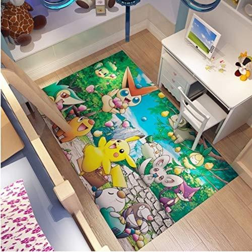 Alfombra Sección Larga Habitación Para Niños Dibujos Animados Anime Pikachu Pokémon Sala De Estar Dormitorio Baño Antideslizante Hogar Alfombra De Piso Salvaje Alfombra Decorativa 40 * 120 Cm