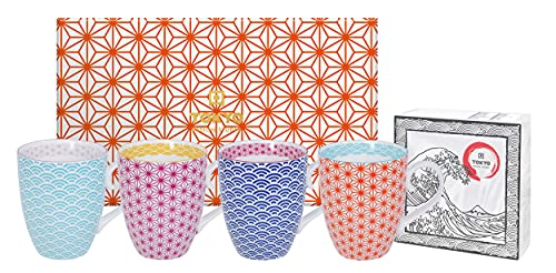 TOKYO design studio, Star Wave, 4 Tassen Set in dekorativer Geschenkbox, Porzellan Geschirr, 380ml