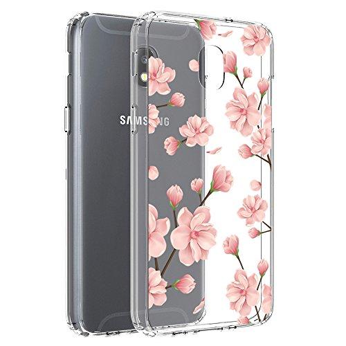 Vinve Floral Slim Case Compatible with Samsung Galaxy J3 2018, J3 V 3rd Gen, Express Prime 3, J3 Orbit,J3 Star, J3 Achieve, Amp Prime 3 (Peach Blossom)