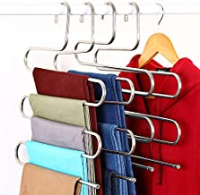 Zotoyi [4 Pack] S Shape Pants Hanger Stainless Steel 5 Layers Cloth Hanger for Closet Organization Space Saving