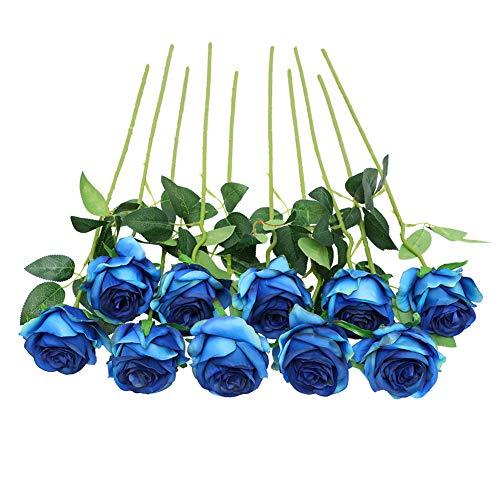 JUSTOYOU Rose Artificial Silk Flowers Bouquet Home Office Arreglos de Boda Azul Claro (10 PCS)